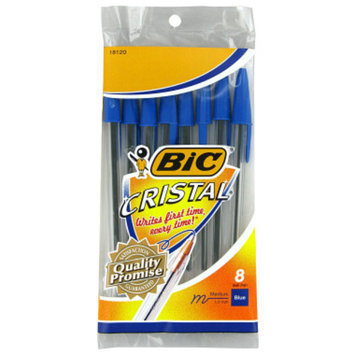 BIC Cristal Ball Point Pens - Blue Ink, 8 pack