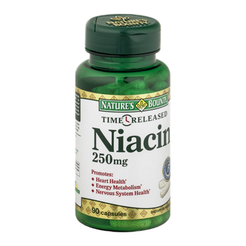 Nature's Bounty Time Released Dietary Capsules Niacin 250 mg - 90 CT