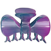Caravan Fashionable Hair Claw Is Open Sophisticated Tied Bow In A Purple Rainbow Hand Painting