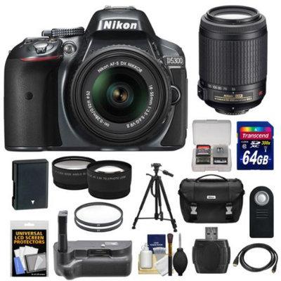Nikon D5300 Digital SLR Camera & 18-55mm G VR II Lens (Grey) with 55-200mm VR Lens + 64GB Card + Battery + Case + Grip + Tele/Wide Lens Kit