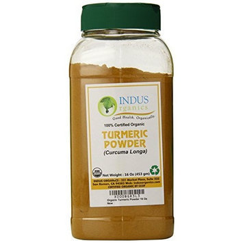 Indus Organics Indus Organic Turmeric (Curcumin) Powder Spice Pack 1 Lb, High Purity, Freshly Packed
