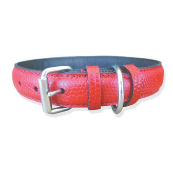 Pet Jewelry Beverly Hills 333 14 Red Padded Snake Print Leather Dog Collar