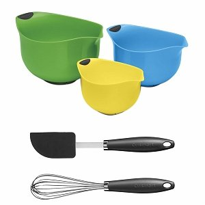 Cuisinart CTG-00-3B2GM Multi-Color Mixing Bowl Set with Whisk and Spatula