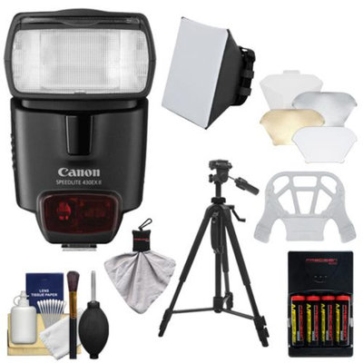 Canon Speedlite 430EX II Flash with Softbox + Bounce Diffuser + Batteries & Charger + Tripod + Kit for EOS 6D, 70D, 5D Mark II III, Rebel T3, T3i, T4i, T5, T5i, SL1 Cameras