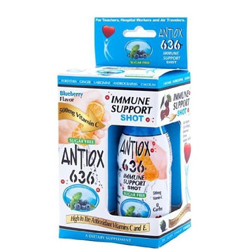 Antiox 636 Immune Support Shot - Blueberry Flavor (2 Pack) 2.5 Fl Oz Each Shot