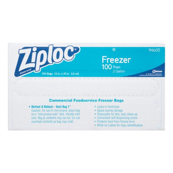 ZIPLOC 94605 Reclosable Bag,2 gal, Clear, Plastic, PK100