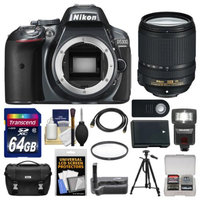 Nikon D5300 Digital SLR Camera Body (Grey) with 18-140mm VR Zoom Lens + 64GB Card + Case + Flash + Grip + Battery + Tripod Kit