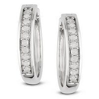 Amour 1/3 Carat Diamond Total Weight Hoop Earrings