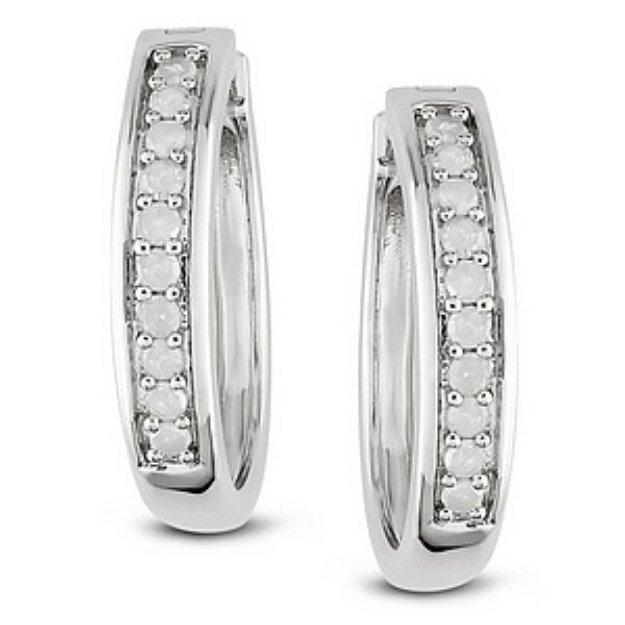Amour 1/3 Carat Diamond Total Weight Hoop Earrings
