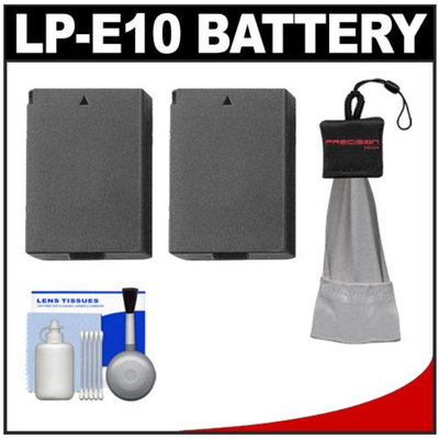 (2) Power2000 LP-E10 Rechargeable Batteries with Spudz + Cleaning Kit for Canon EOS Rebel T3 (1100D) Digital Camera