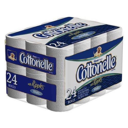Cottonelle Toilet Paper, Single Roll, White (24 Rolls)
