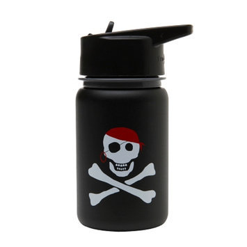 Eco Vessel Scout Kids Stainless Steel Water Bottle w/ Straw Top, Black Pirate, 13 oz