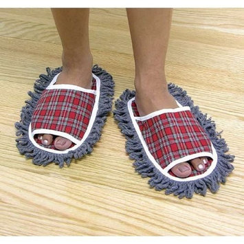 Jobar Leegoal Plaid Dusting Microfiber Cleaning Slippers,Red