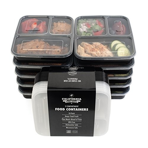 [10-Pack] Premium 3-Compartment Stackable Meal Prep Containers with Lids ● Microwave, Dishwasher Safe and Reusable ● Bento Lunch Box with Plate Dividers by California Home Goods
