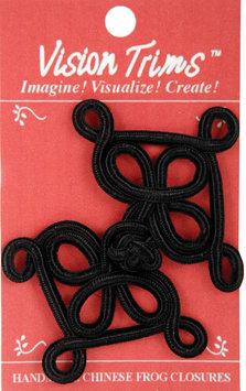 Vision Trims 4632 Handmade Chinese Frog Closure 10cm 1-Pkg-Black