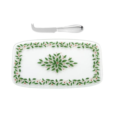 Lenox Holiday Glass Cheeseboard with Knife