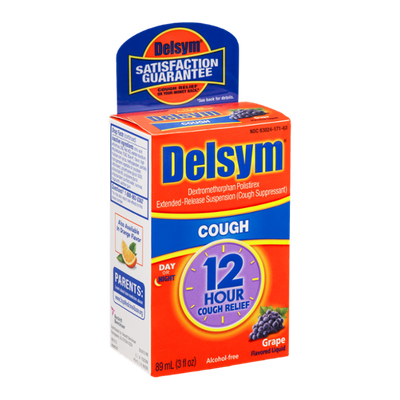 Delsym Extended Release Suspension Cough Grape