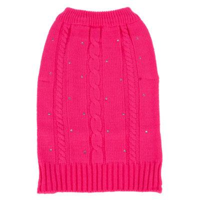 Top PawA Rhinestone Cable Knit Sweater