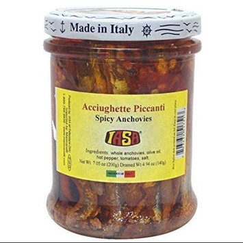 IASA Acciughette Piccanti Spicy Anchovies with Red Pepper in Olive Oil 200 Gram Jar