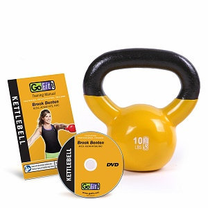GoFit Premium Kettle Bell with DVD 10lb Yellow