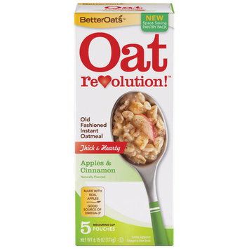 Malt O Meal Betteroats Old Fashioned Apples & Cinnamon Instant Oatmeal, 6.15 oz, 5ct