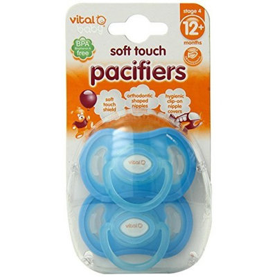 Vital Baby 2 Pack Soft Touch Pacifiers, Blue, 12+ Months