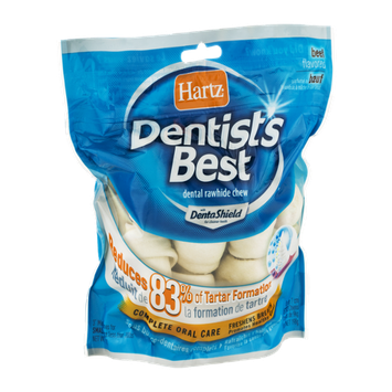 Hartz Dentists Best Dental Rawhide Chew Mini Bones for Small Dogs Beef Flavored