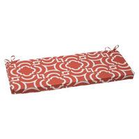 Pillow Perfect Outdoor Wicker Bench Set - Orange/White Carmody