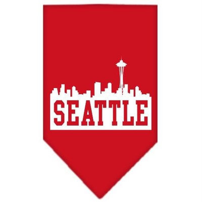 Mirage Pet Products 6683 SMRD Seattle Skyline Screen Print Bandana Red Small
