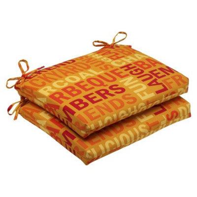 Pillow Perfect Outdoor 2-Piece Square Edge Seat Cushion Set - Yellow/Orange Grillin