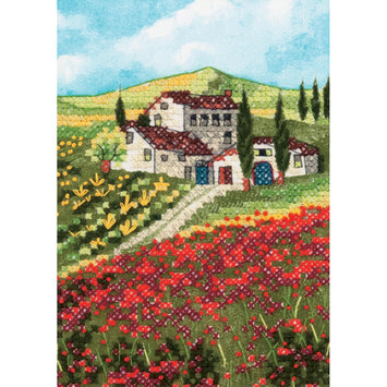 Dimensions Acquisition Llc Dimensions Poppy Fields Mini Stamped Cross Stitch Kit