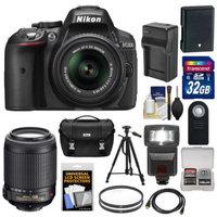 Nikon D5300 Digital SLR Camera & 18-55mm G VR DX II Lens (Black) with 55-200mm VR Lens + 32GB Card + Battery & Charger + Case + Flash + Tripod + Kit