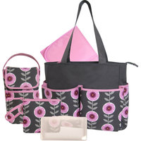 Baby Essentials Floral 5-in-1 Diaper Bag - Grey/Pink