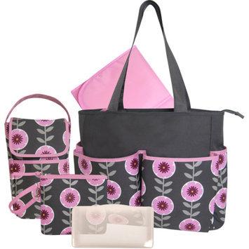 Baby Essentials Floral 5-in-1 Diaper Bag - Grey/Pink