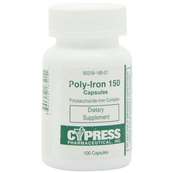 Cypress Pharmaceuticals Dietary Supplement - Poly Iron Capsules 150 mg (100 caps per bottle) by Cypress Pharmaceutical #185-01 (1 Bottle of 100 Caps)