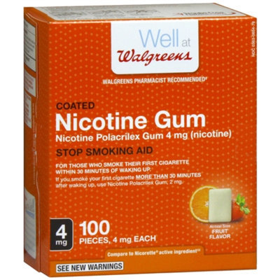 Walgreens Coated Nicotine Gum 4 mg, Fruit, 100 ea
