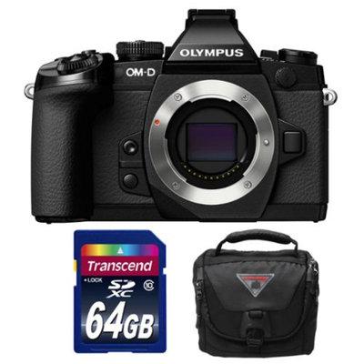 Olympus OM-D E-M1 Micro 4/3 Digital Camera Body (Black) with 64GB Card + Olympus Case Kit