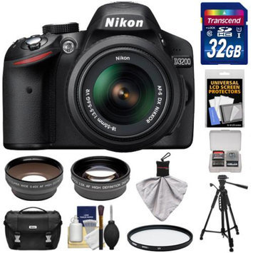 Nikon D3200 Digital SLR Camera & 18-55mm G VR DX AF-S Zoom Lens (Black) with 32GB Card + Case + Filter + Tripod + Telephoto & Wide-Angle Lenses + Accessory Kit