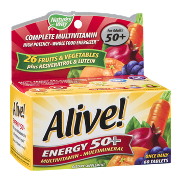 Nature's Way Alive Energy 50+ MultiVitamin-Multimineral Tablets - 60 CT