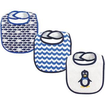 Luvable Friends Blue Mr. Penguin Drooler Bib Set