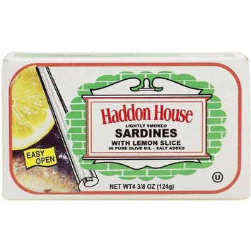Haddon House lightly smoked sardines with lemon slice in pure olive oil, salt added 4.375 oz Box