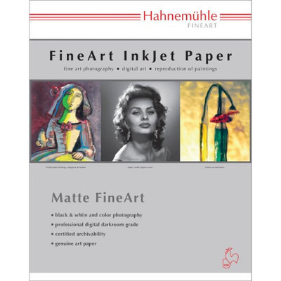 Hahnemuhle Matte Photo Rag 188 g/mA 100 % Rag, Smooth, Bright White Inkjet Paper, 13x19