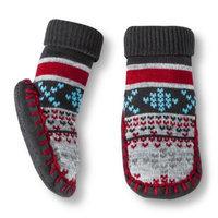 Circo Newborn Toddler Boys' Fair Isle Slipper Sock - Gray/Red 6-12 M