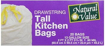 Natural Value 60075 Drawstring Tall Kitchen Bags