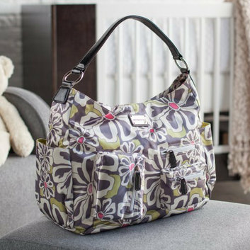 Amy Michelle Lotus Go Bebe Diaper Bag - Charcoal Floral