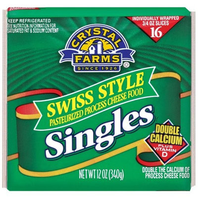 Crystal Farms Swiss Cheese Singles, 16ct