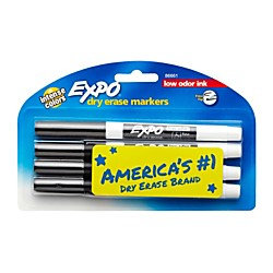 Expo Low Odor Dry Erase Pen-Style Markers, 4 Black Markers