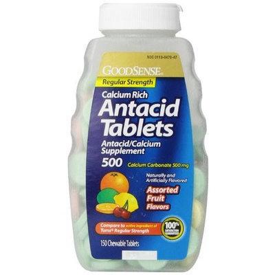 Good Sense GoodSense Calcium Regular Strength Antacid Tablets, Assorted Fruit Flavored, 150 Count