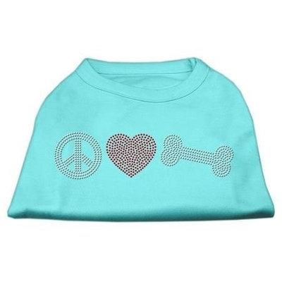 Mirage Pet Products 5262 MDAQ Peace Love and Bone Rhinestone Shirt Aqua M 12