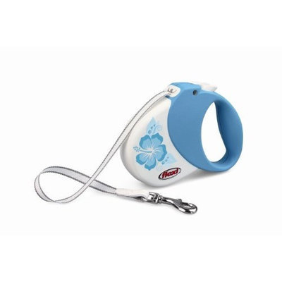 Flexi Hawaii Retractable Belt Dog Leash, Small/Medium, 16-Feet Long, Supports 33-Pound, Turquoise Hibiscus